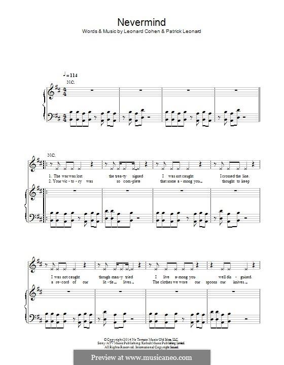 Nevermind: Für Stimme und Klavier (oder Gitarre) by Leonard Cohen, Patrick Leonard