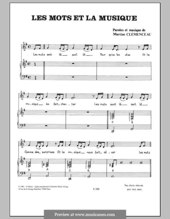 Les Mots et la Musique: Für Stimme und Klavier by Martine Clemenceau