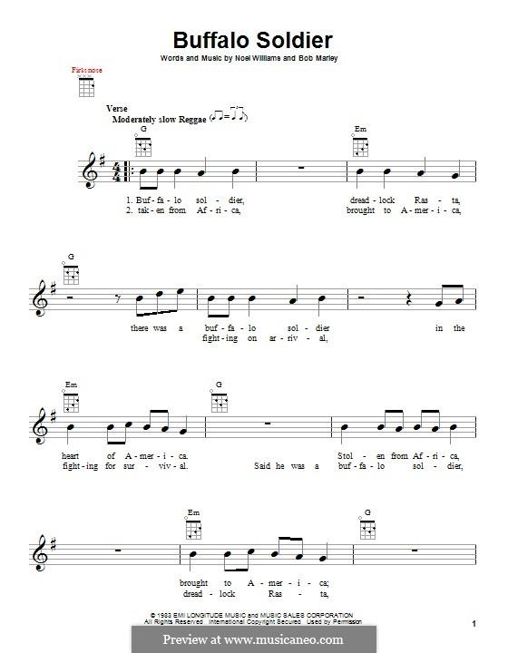 Buffalo Soldier (Bob Marley): Für Ukulele by Noel Williams