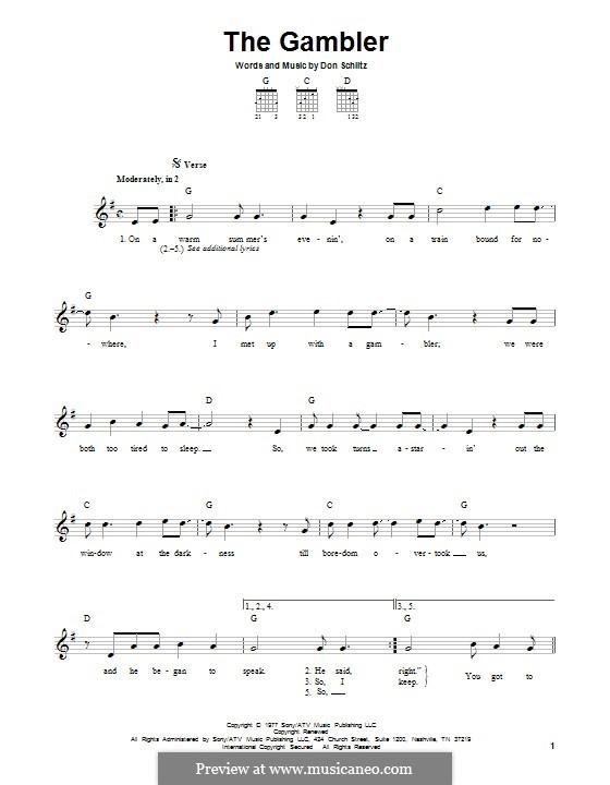 The Gambler (Kenny Rogers): Für Gitarre mit Tab by Don Schlitz