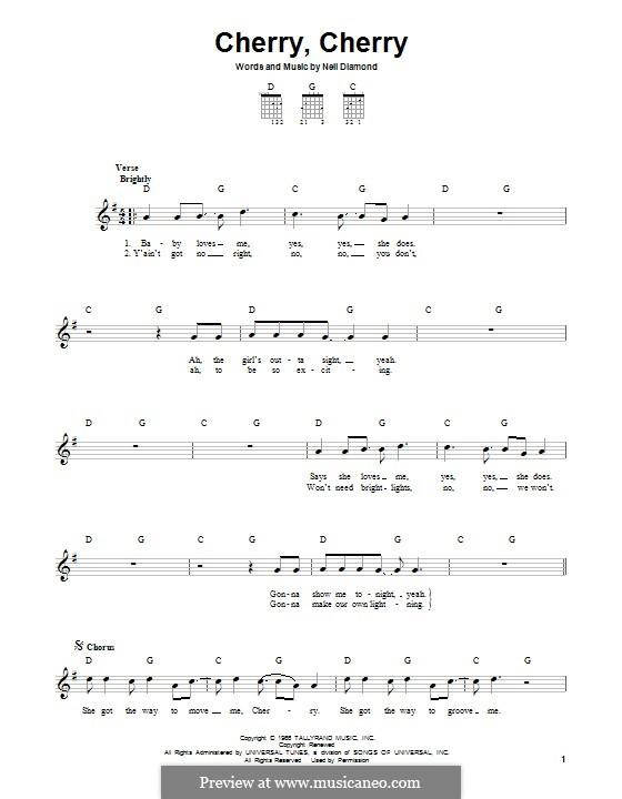 Cherry, Cherry: Für Gitarre mit Tab by Neil Diamond