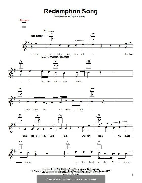 Redemption Song: Für Ukulele by Bob Marley