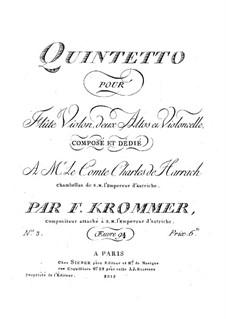 Quintett für Flöte und Streicher in d-Moll, Op.94 No.3: Violinstimme by Franz Krommer
