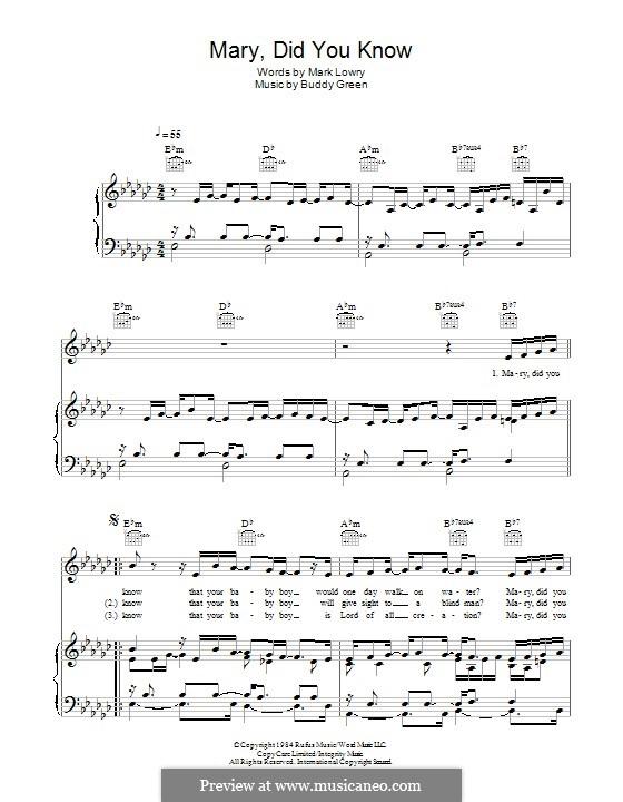 Mary Did You Know?: Für Stimme und Klavier (oder Gitarre) by Bud Green