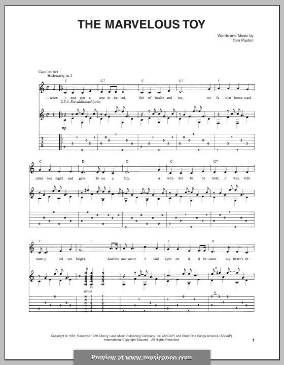 The Marvelous Toy: Für Gitarre mit Tab by Tom Paxton