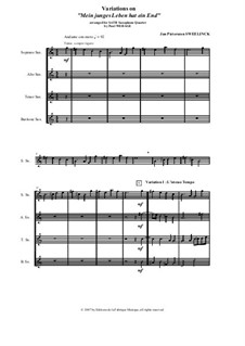 Mein junges Leben hat ein End', D.48: Arranged for SATB saxophone quartet - score and parts by Jan Pieterszoon Sweelinck