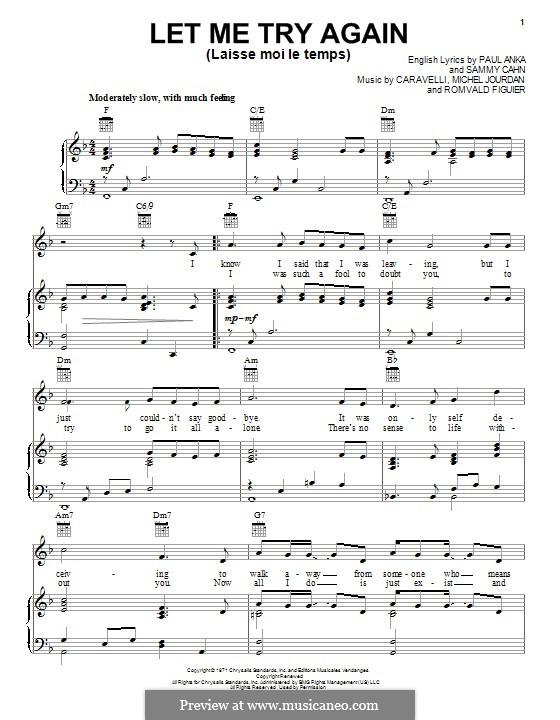 Let Me Try Again (Laisse Moi le Temps): Für Stimme und Klavier oder Gitarre (Frank Sinatra) by Caravelli, Michel Jourdan, Romvald Figuier