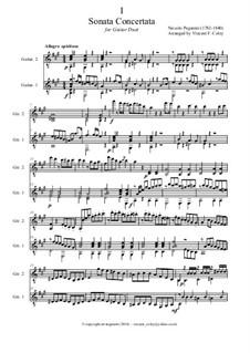Konzert-Sonata für Gitarre und Violine: Version for guitar duet – full score, MS 2 by Niccolò Paganini