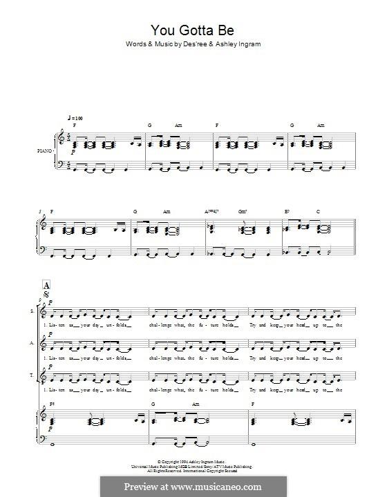 You Gotta Be: Für gemischten Chor by Des'ree, Ashley Ingram