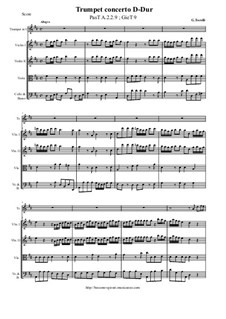 Trumpet concerto D-Dur, PasT A.2.2.9; GieT 9: Score and all parts by Giuseppe Torelli