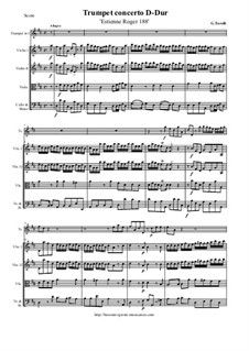 Trumpet concerto D-Dur 'Estienne Roger 188': Score and all parts by Giuseppe Torelli