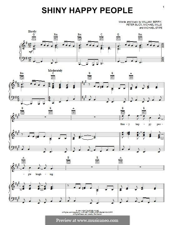 Shiny Happy People (R.E.M.): Für Stimem und Klavier (oder Gitarre) by Mike Mills, Michael Stipe, Peter Buck, William Berry