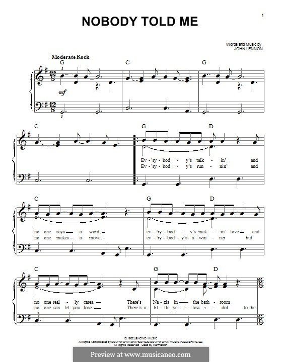 Nobody Told Me: Für Klavier by John Lennon