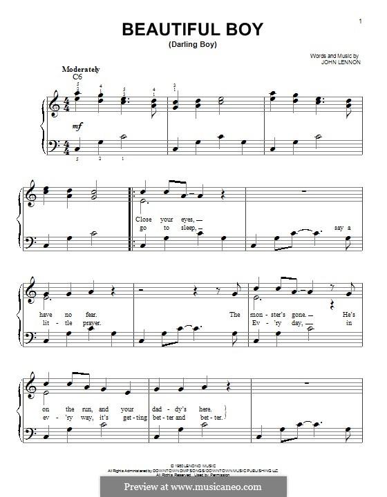 Beautiful Boy (Darling Boy): Für Klavier by John Lennon