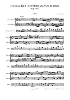 Triosonate in g moll für zwei Traversflöten und Viola da Gambe: Triosonate in g moll für zwei Traversflöten und Viola da Gambe by Bernhard Vass