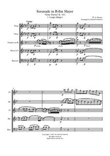 Serenade für Blasinstrumente Nr.10 in B-Dur, K.361: For wind quintet by Wolfgang Amadeus Mozart