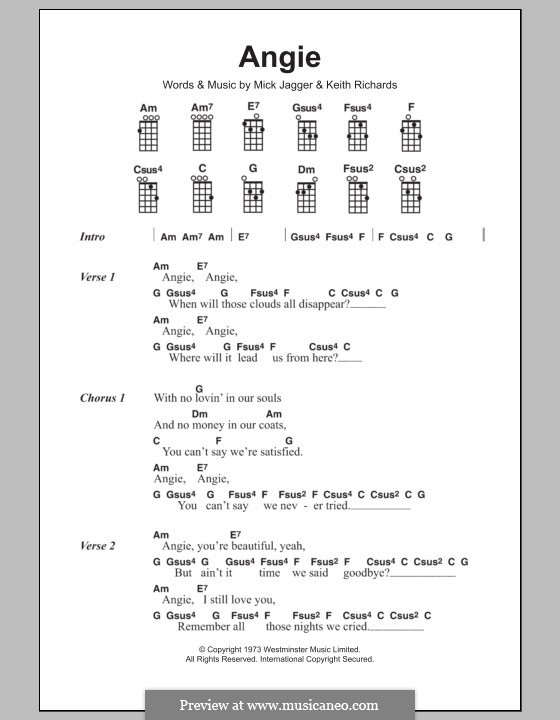 Angie (The Rolling Stones): Für Ukulele by Keith Richards, Mick Jagger