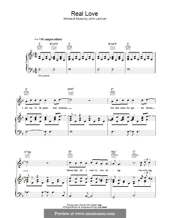 Real Love (The Beatles): Für Stimme und Klavier (oder Gitarre) by John Lennon