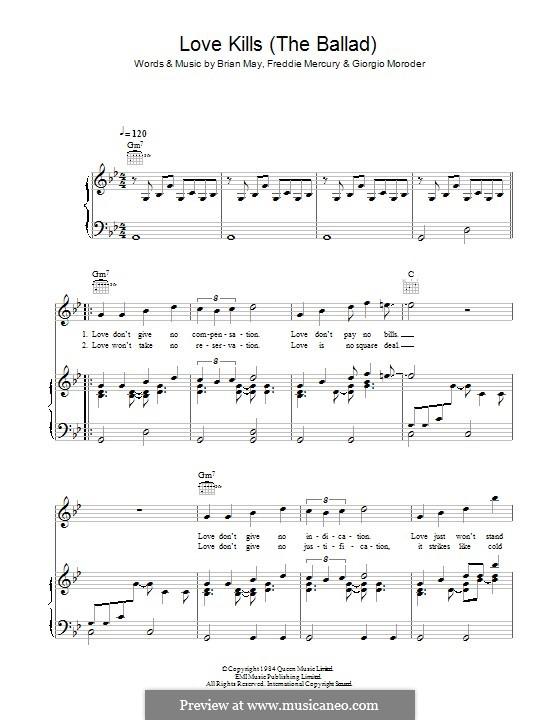 Love Kills (The Ballad): Für Stimme und Klavier (oder Gitarre) by Brian May, Freddie Mercury, Giorgio Moroder