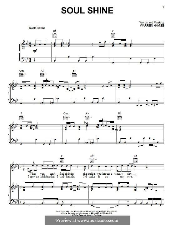 Soul Shine: Für Stimme und Klavier (oder Gitarre) by Warren Haynes