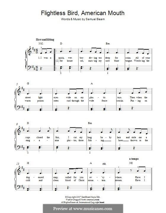 Flightless Bird, American Mouth (Iron & Wine): Für Klavier by Samuel Beam