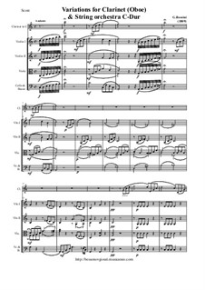 Variations for Clarinet (Oboe) and String Orchestra: RoScore and all parts by Gioacchino Rossini