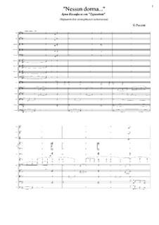 Turandot: Nessun dorma (full score) by Giacomo Puccini