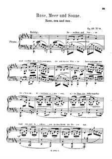Zwölf Gedichte für Stimme und Klavier, Op.37: Nr.9 Rose, Meer und Sonne, für Klavier by Robert Schumann