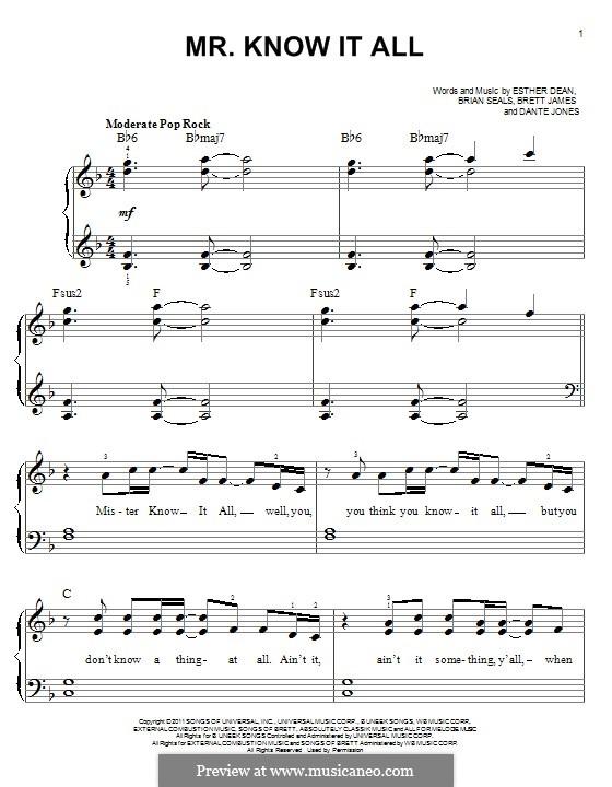 Mr. Know It All (Kelly Clarkson): Für Klavier by Brett James, Brian Kennedy Seals, Dante Jones, Esther Dean