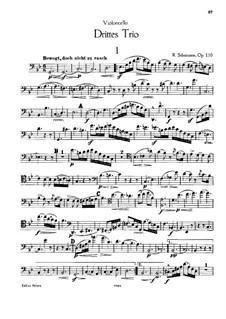 Klaviertrio Nr.3 in g-Moll, Op.110: Cellostimme by Robert Schumann