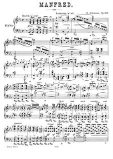 Manfred, Op.115: Ouvertüre. Bearbeitung für Klavier by Robert Schumann