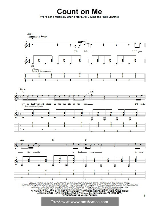Count on Me: Für Gitarre mit Tab by Ari Levine, Bruno Mars, Philip Lawrence