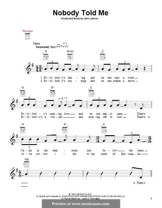 Nobody Told Me: Für Ukulele by John Lennon