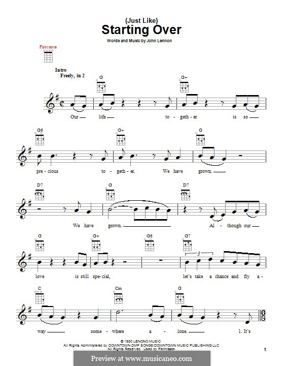 (Just Like) Starting Over: Für Ukulele by John Lennon