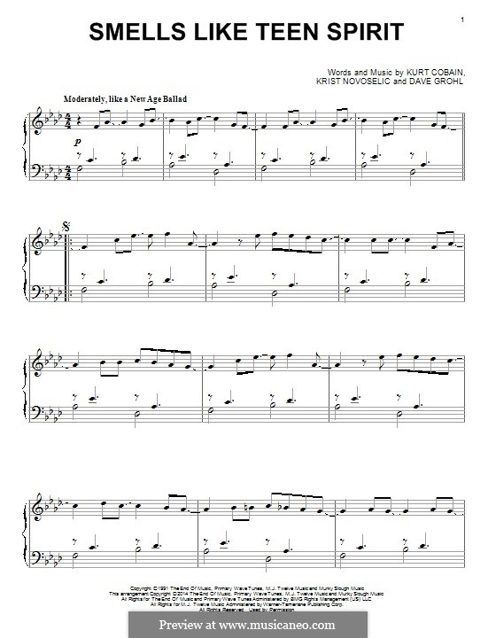 Smells Like Teen Spirit (Nirvana): Für Klavier by David Grohl, Krist Novoselic, Kurt Cobain