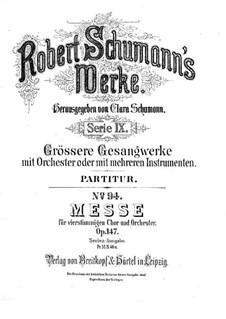 Messe in c-Moll, Op.147: Vollpartitur by Robert Schumann