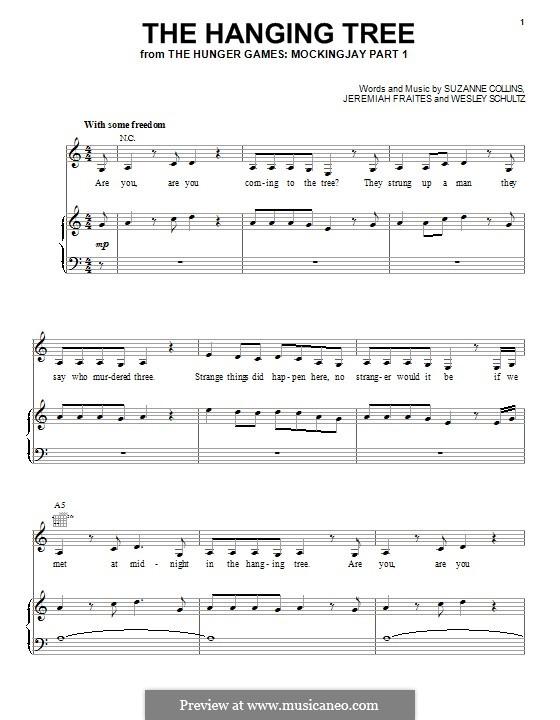 The Hanging Tree: Für Stimme und Klavier (oder Gitarre) by Jeremy Fraites, Wesley Schultz, Suzanne Collins