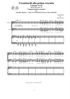 Die Lombarden auf dem ersten Kreuzzug: Sciagurata hai tu creduto, for solo bass - Choir SA and piano, CSGV8 by Giuseppe Verdi