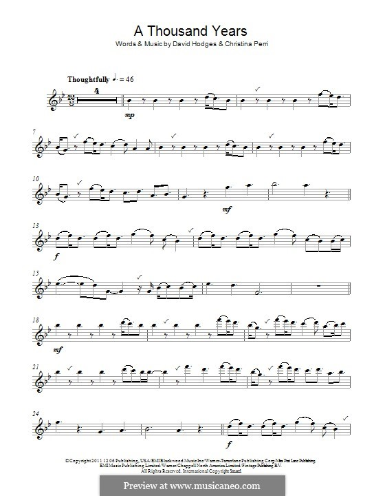 A Thousand Years: Für Flöte by Christina Perri, David Hodges