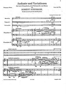 Andante und Variationen für zwei Klaviere, zwei Cellos und Waldhorn, Op.46: Vollpartitur by Robert Schumann