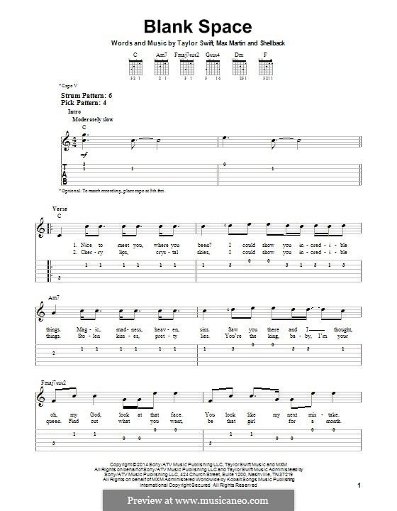 Blank Space: Für Gitarre mit Tab by Shellback, Max Martin, Taylor Swift