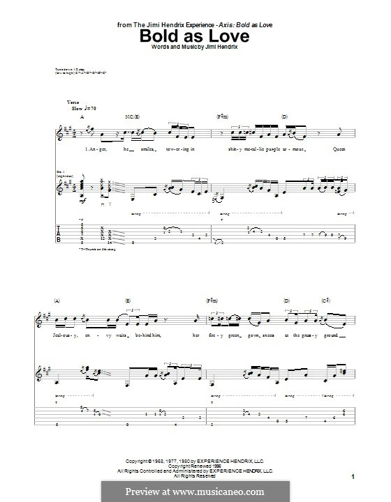 Bold as Love: Für Gitarre mit Tab by Jimi Hendrix