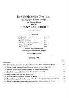 Der vierjährige Posten, D.190: Ouvertüre by Franz Schubert