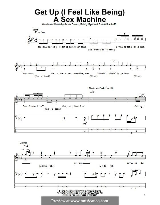 Get Up (I Feel Like Being) A Sex Machine: Für Bassgitarre mit Tabulatur by Bobby Byrd, James Brown, Ronald Lenhoff
