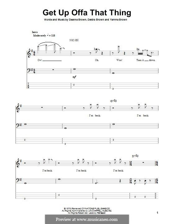 Get Up Offa That Thing: Für Bassgitarre mit Tabulatur by James Brown