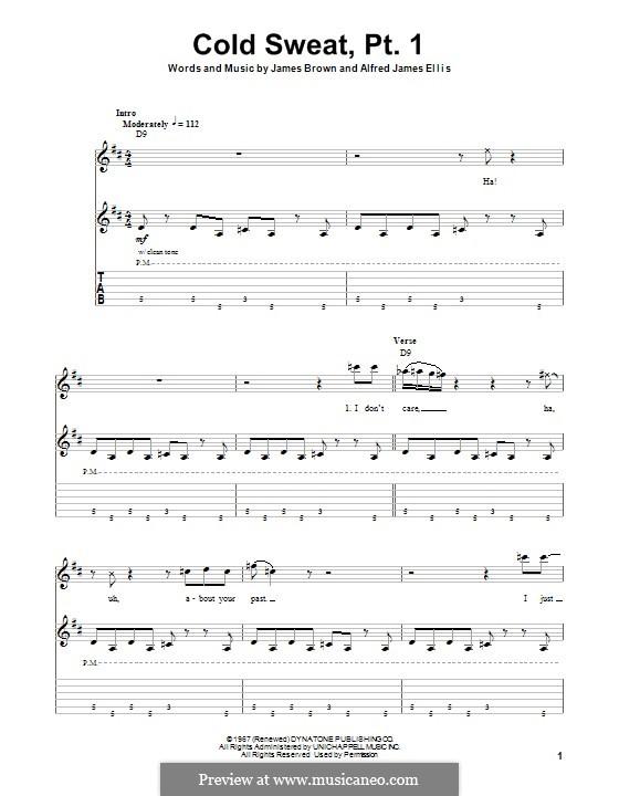 Cold Sweat, Pt.1: Für Gitarre mit Tabulatur by Alfred Ellis, James Brown
