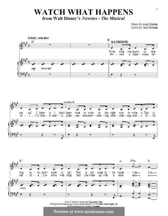Watch What Happens: Für Stimme und Klavier by Alan Menken