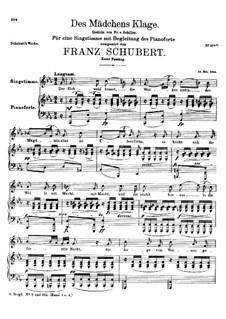 Des Mädchens Klage, D.191 Op.58 No.3: Erste Fassung by Franz Schubert