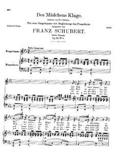 Des Mädchens Klage, D.191 Op.58 No.3: Zweite Fassung by Franz Schubert