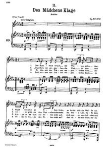 Des Mädchens Klage, D.191 Op.58 No.3: Klavierauszug mit Singstimmen by Franz Schubert